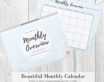 Beautiful Blue Textured Monthly Overview