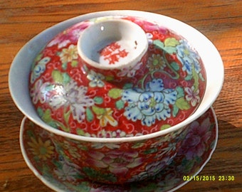 Vintage Handless Covered Tea Cup and Saucer