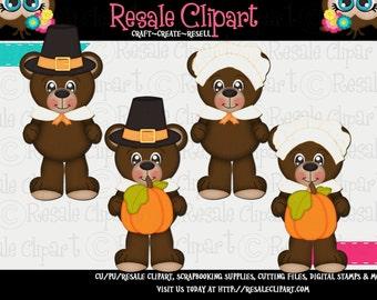 Little Pilgrim Bear Cuties 1 Clipart (Digital Download)