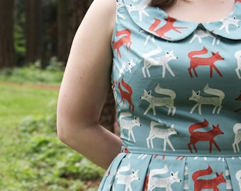 Foxie Moxie Dress - peter pan collar, woodland, indie, collar dress, collared dress, quirky clothing