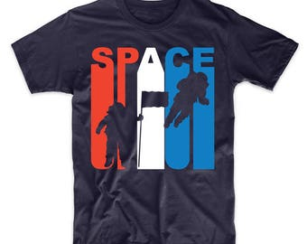 Retro Style Red White And Blue Space Astronaut T-Shirt by Really Awesome Shirts
