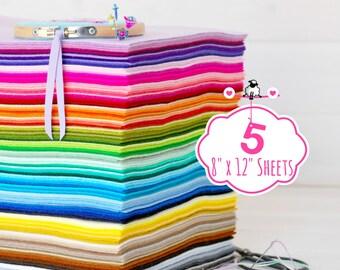"""100% Wool Felt Sheets - Sheets of 8"""" X 12"""" - Merino Wool Felt - Pure Wool Felt - 4, 5 or 6 Wool Felt Sheets - You Choose your Colors"""
