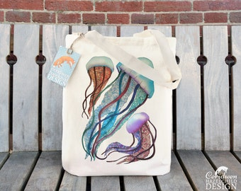 Jellyfish Tote Bag, Ethically Produced Reusable Shopper Bag, Cotton Tote, Shopping Bag, Eco Tote Bag, Reusable Grocery Bag, Stocking Filler