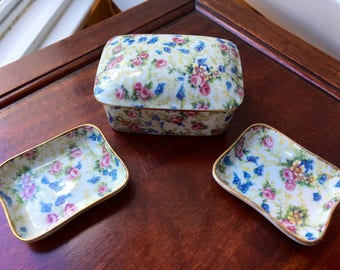 Limoges Trinket Box / Jewelry Box with 2 Trays, Pin Dishes Blue/Pink/Rose Floral Pattern