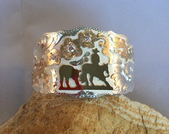 Cutting Horse Wide Cuff Bracelet / Artisan Handmade and Hand Engraved / Sterling Silver