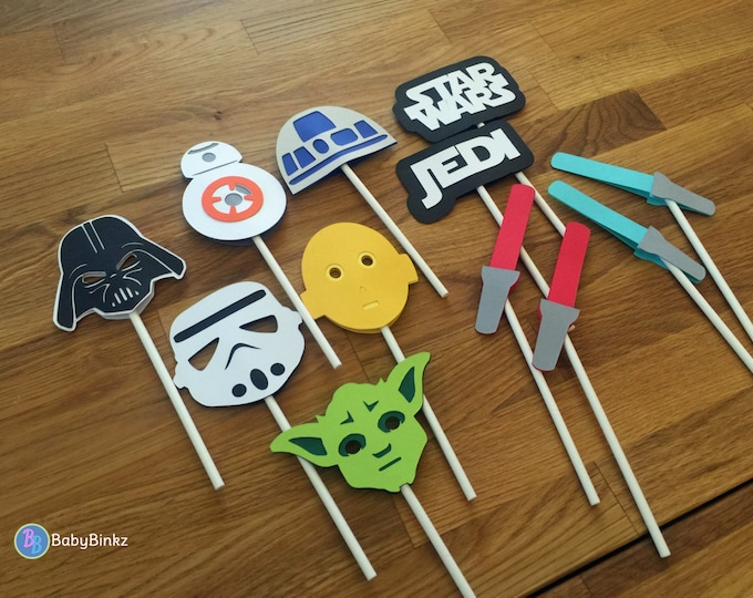 Cupcake Toppers: The Star Wars Set - party wedding birthday jedi force BB8 R2D2 CP3O darth vader yoda storm trooper awakens decoration