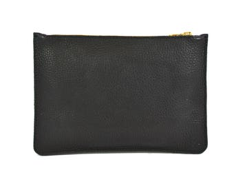 Coralie - Handmade Black Leather Clutch Bag Zip Pouch Purse SS18