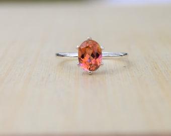Anastasia Topaz Ring, Peach Topaz Ring, Pink Ring, Orange Ring, Sterling Silver Ring, Blush Topaz Ring