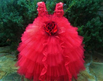 RED LACE RUFFLES - Red Tutu Dress - Red Tiered Dress - Flower Girl Gown - Pageant Girl Dress - Red Lace Tutu Dress - Birthday Tutu Dress -