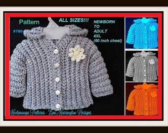 CROCHET PATTERN Sweater, --- Unisex Sweater pattern, cardigan or hoodie, crochet sweater, Baby, Child, Toddler, Teen, Adult, Plus size  #780