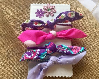 Fabric Hair Bow, Hair Bobble, Purple, Paisley, Polka Dot, Pink, Hair Accessory, Ponytail Set, Girls