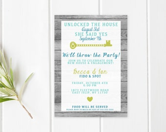 Engagement Party Invitation, Housewarming Party Invitation, Our New House, Engaged, Housewarming and Engagement Party Invitation, Engagement