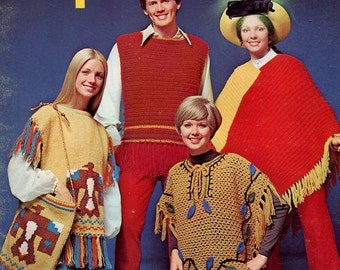 FREE US SHIP Men Miss Kids Family retro Vintage Columbia Minerva Knit Crochet Leaflet 2520 Family Ponchos Thunderbird Purse 1970