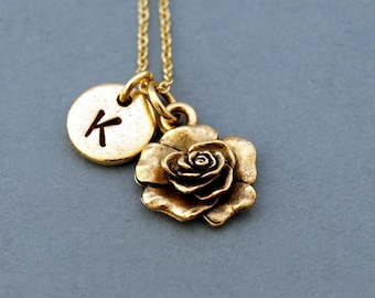 Rose necklace, Rose flower charm, Rose charm necklace, garden charm, antique gold, initial necklace, hand stamped, personalized, monogram