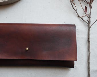 Brown Leather interlocking clutch bag.  Leather bag, Leather purse.  Handmade in the UK