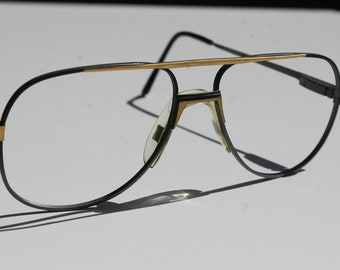vintage TRENTI CLUB 4/Fx G11 54-18 mat black with mat gold accent double bridge aviator eye/sunglasses frames made in Italy New
