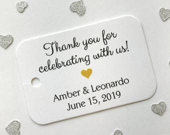 Thank You For Celebrating With Us Tags, Wedding Favor Tags, Small Wedding Favor Tags (RR-017)