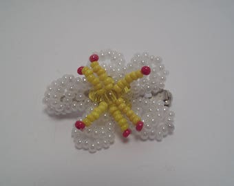 White cherry flower brooch