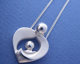 New Mommy Necklace, Silver 'Arms of Love' Pendant with Chain, Push Gift, Mothers Day Necklaces, from our Mère et Enfant Jewelry Collection