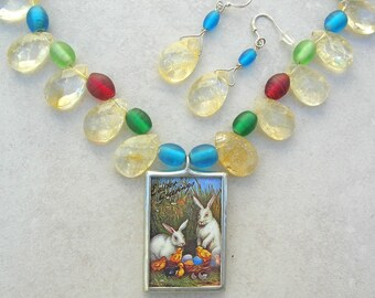 "SALE - 50% off, Easter Egg Fun - Reversible Rabbit & Easter Egg Pendant, Glass ""Eggs"" and Briolette Beads, Necklace Set by SandraDesigns"