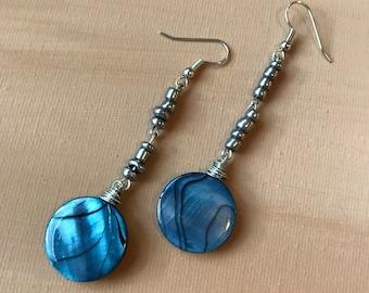 Pewter Ocean Earrings