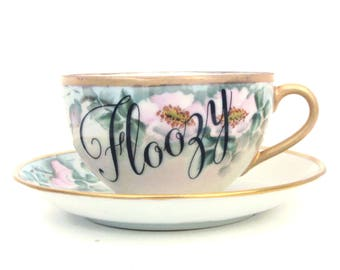Floozy Altered Vintage Teacup and Saucer