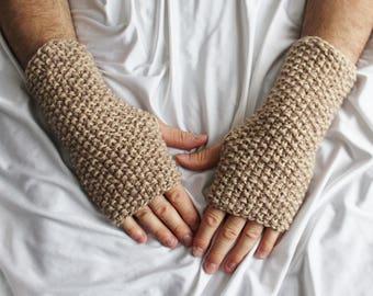 Light Brown Fingerless Gloves for Men - Brown Gloves - Gloves for Men - Ready to ship