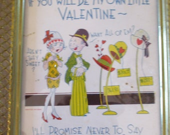 Valentine - with old nice brass frame.  If you will be my own little valentine - I'll promise never to say bye-bye when you say buy buy