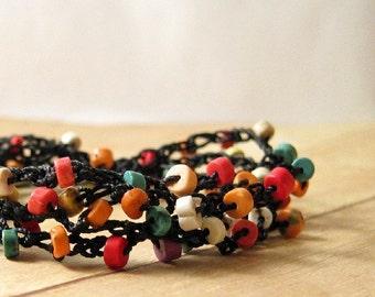 Boho Chic  Wrap Bracelet, Crochet Beaded Bracelet, Rainbow Stone Bead Jewelry, Bohemian Jewelry, Wrap Around Bracelet, Bohemian Style