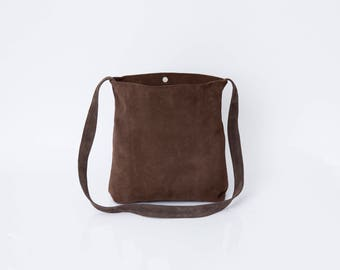 CLEARANCE - Brown Leather Tote, Suede leather, Soft Leather Bag, Crossbody Tote, Lightweight Leather, Magnetic closer, Brown Bag, Carry Bag