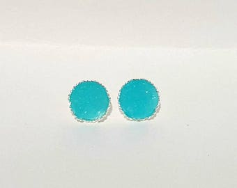 Arctic Blue Druzy Earrings, Blue Earrings, Crystal Earrings, Faux Druzy Earrings, Blue Earrings, Druzy Stud Earring