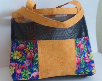 "Black mesh tote bag with ""Flamingo"" design fabric pockets"