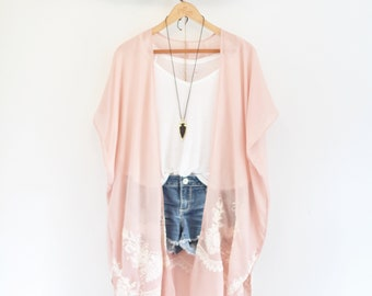 Long bohemian kimono * Cotton * Pink and white * Flower embroidery patterns * CRAZY ON YOU *