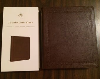 PERSONALIZED ** ESV Journaling Bible - Mocha Brown Bonded Leather ** Custom Imprinted