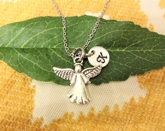 GUARDIAN ANGEL NECKLACE - personalized with initial charm - choice of chains - one flat rate shipping in my shop :)