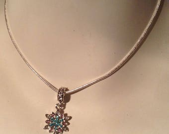 Sterling silver necklace witch charm