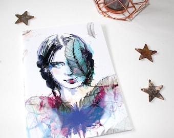 Portrait illustrated notebook A5 size pen