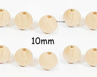 10 x 10mm Natural Round Wooden Beads Jewellery Spacer with 2.5mm Hole