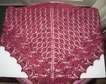 Beautiful knitted mini shawl in the colour of crushed beetroot