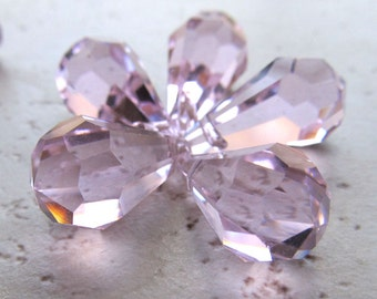 Germany Crystal Glass Teardrop Beads 20 x 12mm Brilliant Iridescent Delicate Pink Faceted Briolette - 4 Pieces