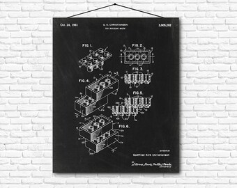 Lego Toy Building Brick Patent Print - 1961 - Poster Wall art Illustration Print Art Home Decor Vintage Patent - SKU 0174