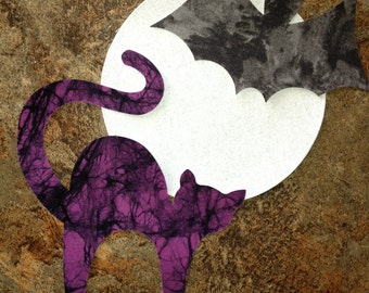 Die Cut Applique.  Set of 3,  Halloween Shapes, Purple Cat, Black Bat, Silver Sparkle Full Moon.   Right-facing. Fusible (Iron On).