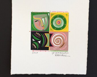 painting, small squares, art original, abstract modern art