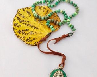 The Green Buddha Vintage Pendant Chrysoprase & Leather Bohemian Anahata Necklace