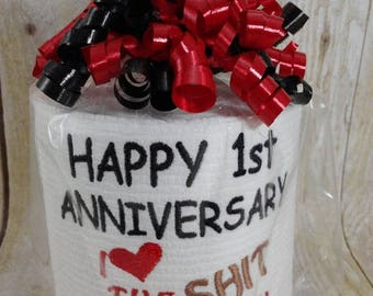 Paper Anniversary - First Anniversary for him or her - Persoanlized - Custom made Embroidered 1st Anniversary Toilet paper - funny gift 7-25