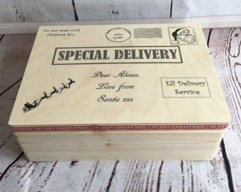 Christmas Eve box, personalised christmas eve box, xmas eve box, wooden Christmas Eve box, large Christmas Eve box, solid wood Christmas Eve