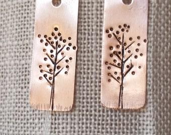 Nature jewelry, Tree of Life Earrings, Tree Of Life, Tree Earrings, Copper Jewelry, Handstamped Earrings, copper earrings, tree jewelry