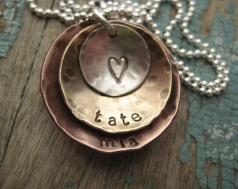 Personalized jewelry, mixed metal layered discs necklace, jewelry for mom, kids name necklace, personalized necklace, gift for moms