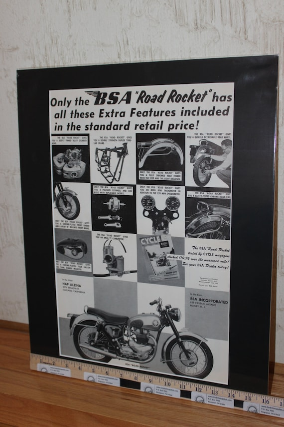 1955 BSA Road Rocket 16'' x 20'' Matted Vintage Motorcycle Ad Art Poster #5509amot13m
