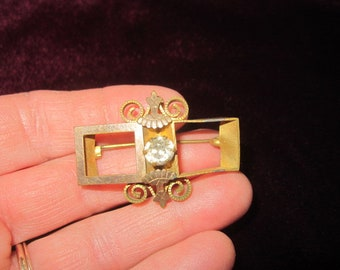 Antique c1910 Edwardian Gold Fill Rhinestone Brooch as found
